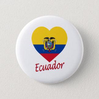 Ecuador Flag Heart 6 Cm Round Badge