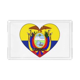 Ecuador Flag Heart Acrylic Tray