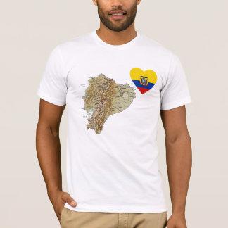 Ecuador Flag Heart and Map T-Shirt