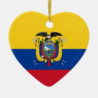 Ecuador Flag Heart Christmas Ornament