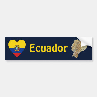 Ecuador Flag Heart + Map Bumper Sticker
