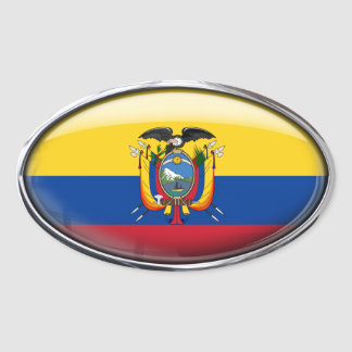 Ecuador Flag in Glass Oval (pack of 4) Oval Sticker