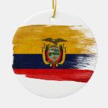Ecuador Flag Round Ceramic Decoration