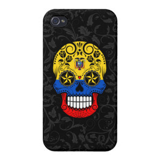 Ecuador Flag Sugar Skull with Roses Cases For iPhone 4