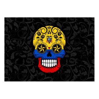 Ecuador Flag Sugar Skull with Roses Pack Of Chubby Business Cards