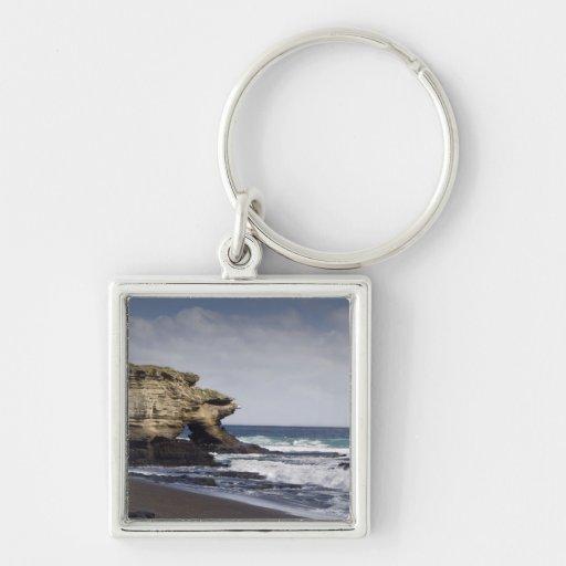 Ecuador, Galapagos, Santiago aka James). Silver-Colored Square Key Ring