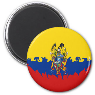 Ecuador Gnarly Flag 6 Cm Round Magnet