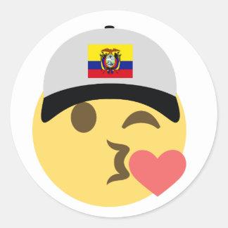 Ecuador Hat Kiss Emoji Classic Round Sticker
