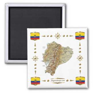 Ecuador Map + Flags Magnet