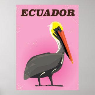 Ecuador Pelican vintage travel poster