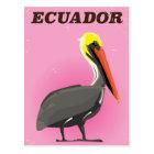 Ecuador Pelican vintage travel poster Postcard