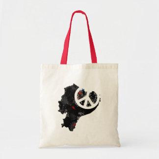 Ecuador Trendy Peace Sign with Ecuadorian map Canvas Bag