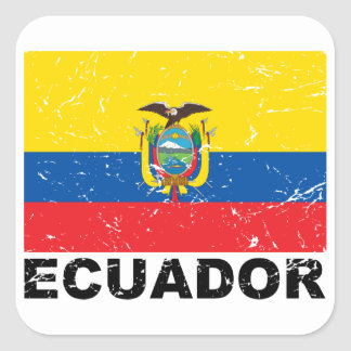 Ecuador Vintage Flag Square Sticker