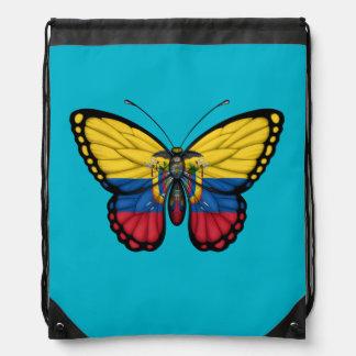 Ecuadorian Butterfly Flag Drawstring Backpack