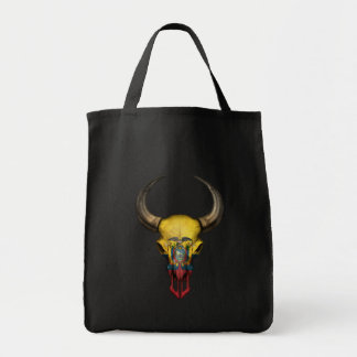Ecuadorian Flag Bull Skull Canvas Bags