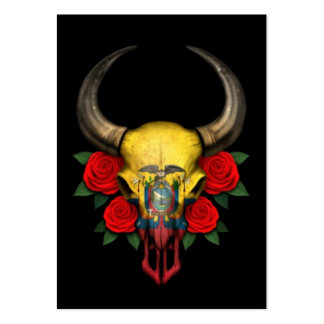 Ecuadorian Flag Bull Skull with Red Roses Pack Of Chubby Business Cards
