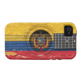 Ecuadorian Flag on Old Acoustic Guitar iPhone 4/4S Covers