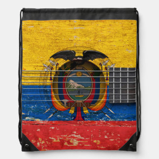 Ecuadorian Flag on Old Acoustic Guitar Drawstring Backpack