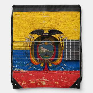 Ecuadorian Flag on Old Acoustic Guitar Rucksacks