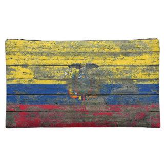 Ecuadorian Flag on Rough Wood Boards Effect Cosmetic Bag