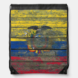 Ecuadorian Flag on Rough Wood Boards Effect Drawstring Backpack