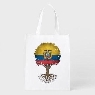 Ecuadorian Flag Tree of Life Customizable Reusable Grocery Bag