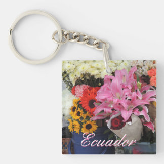 Ecuadorian Flower Market in the Church Plaza Key Ring