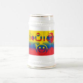Ecuadorian Gifts : Hello / Hola + Smiley Face 18 Oz Beer Stein