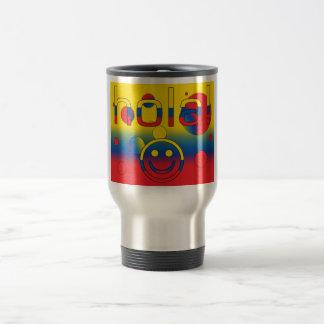 Ecuadorian Gifts : Hello / Hola + Smiley Face Stainless Steel Travel Mug