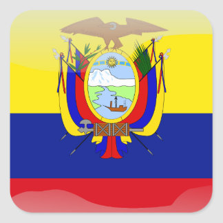 Ecuadorian glossy flag square sticker