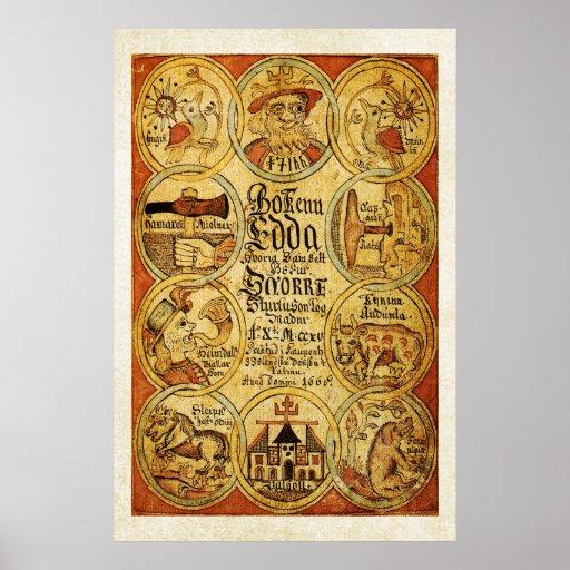 Edda Norse Scandinvian Mythology Poster