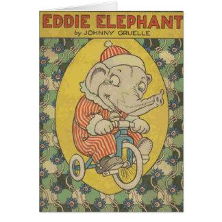 Eddie Elephant Book Cover (Blank Inside) Card
