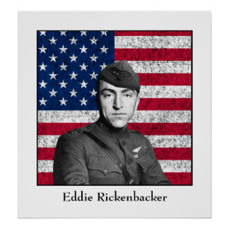 Eddie Rickenbacker and The American Flag Print