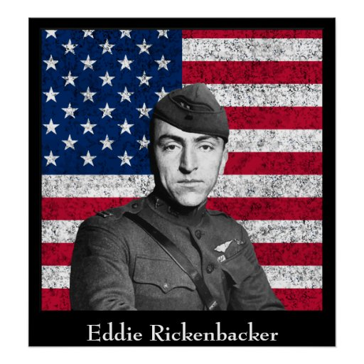 Eddie Rickenbacker and The U.S. Flag Print