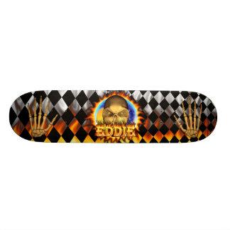 Eddie skull real fire and flames skateboard design