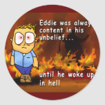 Eddie Wakes Up in Hell Round Stickers