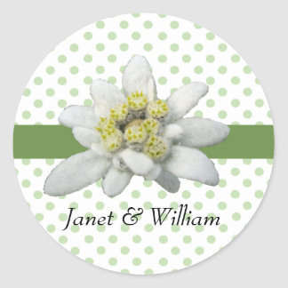 Edelweiss and Polka Dots Wedding Envelope Seal Round Sticker