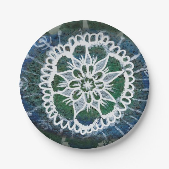Edelweiss Custom Paper Plates Blue Mandala