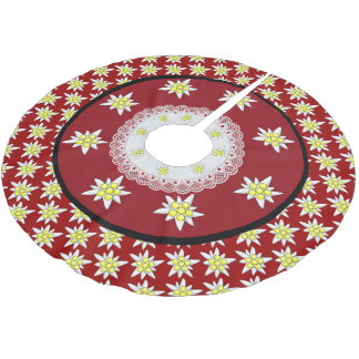 Edelweiss Floral Red Christmas Tree Skirt