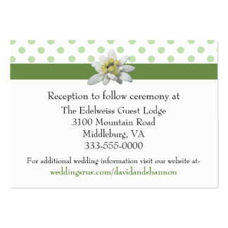 Edelwiess and Polka Dots Wedding Enclosure Card Pack Of Chubby Business Cards