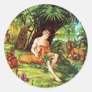 Eden Adam In The Garden Classic Round Sticker