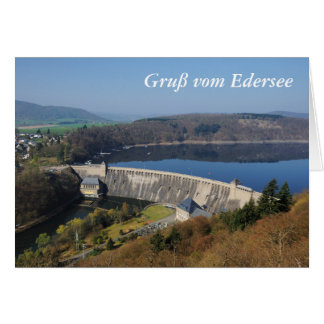 Edersee concrete dam in the spring card
