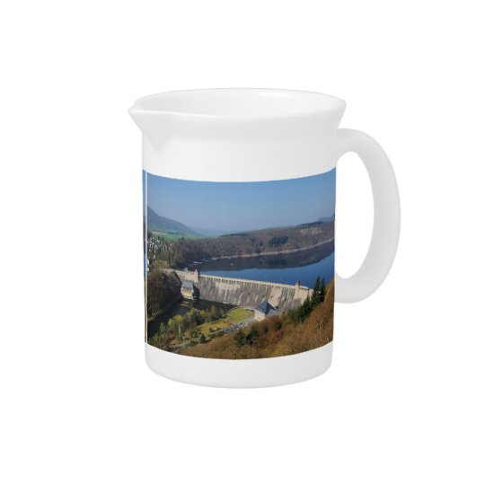 Edersee concrete dam in the spring drink pitcher