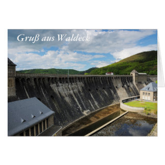 Edersee concrete dam with closed forest-hits a card