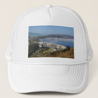 Edersee concrete dam with fog trucker hat