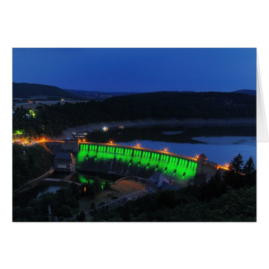 Edersee lit up concrete dam in the evening card