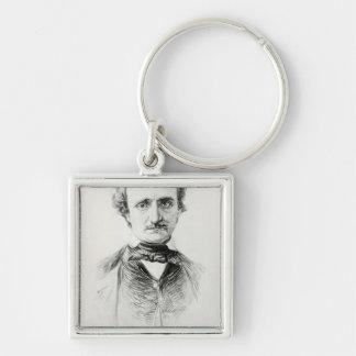 Edgar Allan Poe  1907 Silver-Colored Square Key Ring