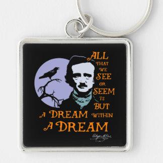 Edgar Allan Poe Dream Within A Dream Quote Silver-Colored Square Key Ring
