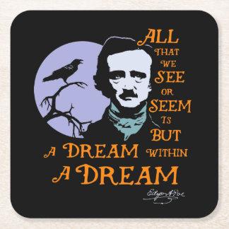 Edgar Allan Poe Dream Within A Dream Quote Square Paper Coaster