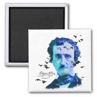 Edgar Allan Poe in Shades of Blue with Ravens Magnet